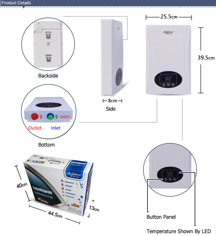 220240v 38kw instant electric shower water heater hot sale for malysia