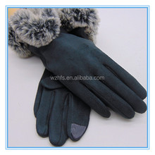 Cost Price Touch Screen Suede Fur Massage Gloves