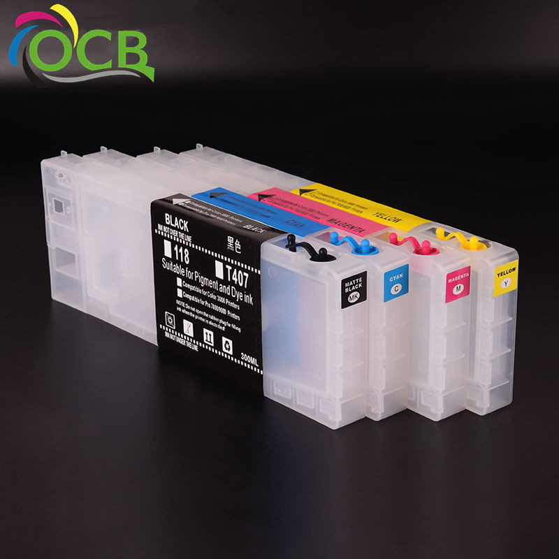 Ocbestjet Empty Refillable Refill Ink Cartridge For Epson Color 3000 7000 7500 9000 9500 Inkjet Printer