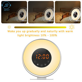 Newest Nature Night Light With 7 Colors Sunrise Simulation Wake Up Light Alarm Clock