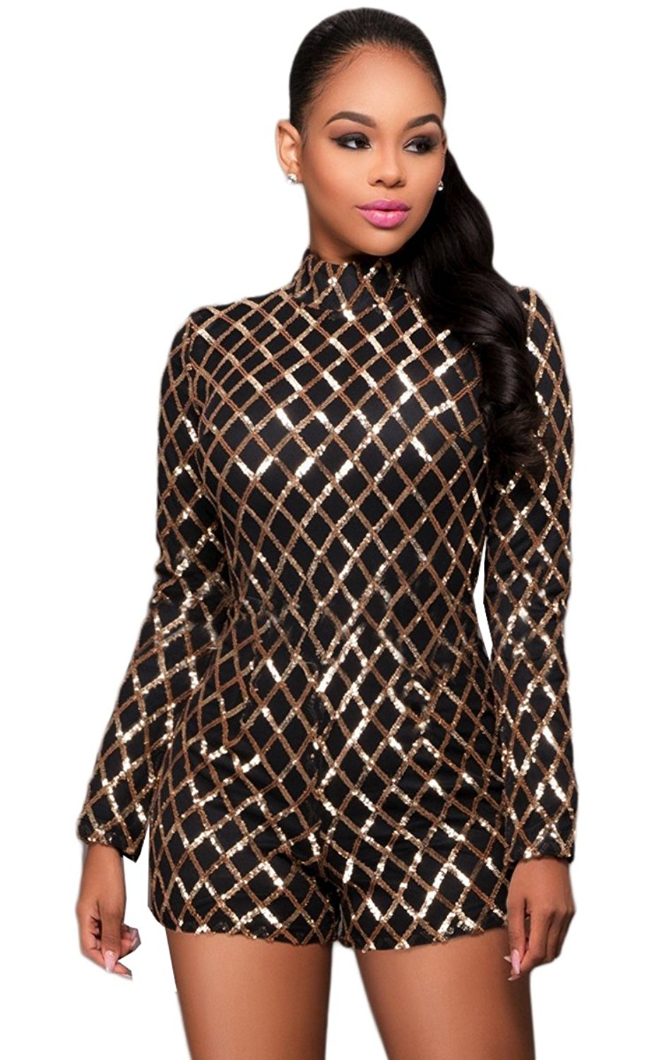 bb6f469ce1f7 Get Quotations · Kearia Women Sexy Sequin Playsuits Long Sleeves Bodycon Shorts  Rompers Jumpsuit