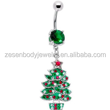 Emerald Green Gem Holiday Christmas Tree Belly Ring Body Piercing Jewelry
