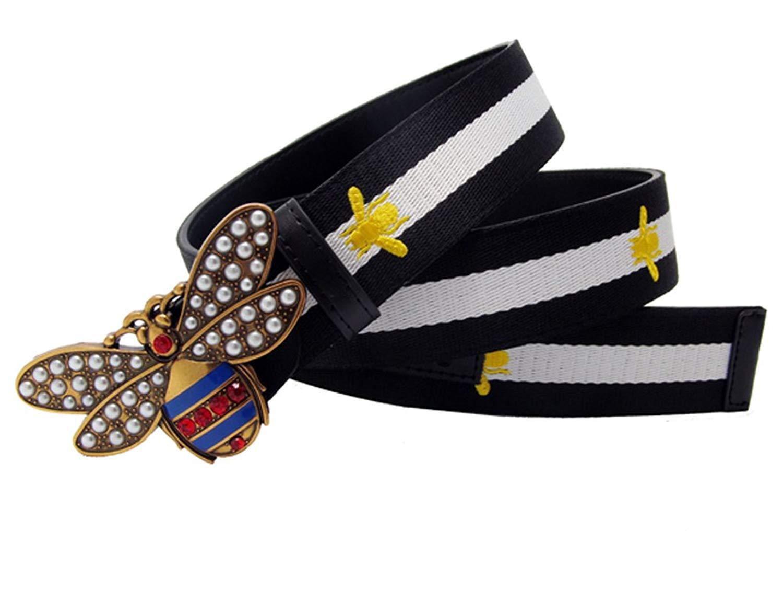4116e1e7359 Get Quotations · Fashion Bee Design Buckle Belt Canvas Thin Waist Belt  Strap Buckle For Women