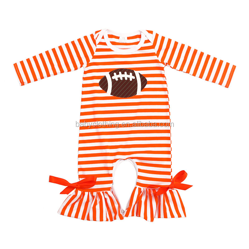 Howell striped color long sleeves ruffle football newborn baby clothes infant and toddlers clothing baby girl romper