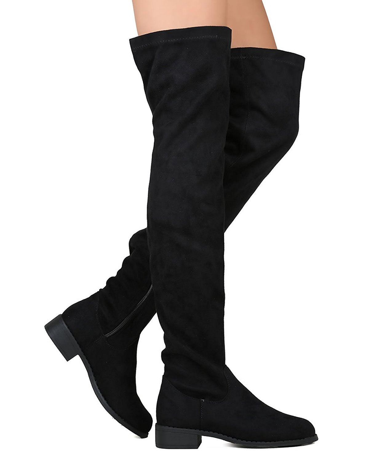 0e479d57974d Get Quotations · Women s Thigh High Flat Riding Boots Stretchy Girls Night  Low Block Heel Pull on Dressy Casual