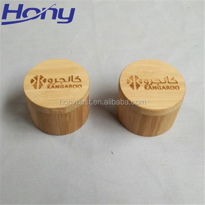 Nice Bamboo Finish Wood Round Ring Gift Box with Custom Laser Engraving Logo and EVA Insert