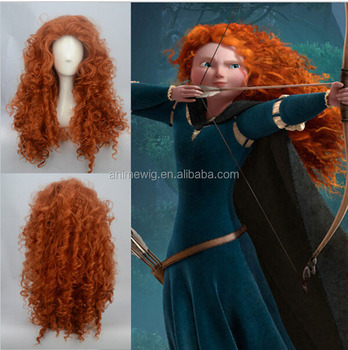 American Anime Brave Merida Princess 70 cm Long curly orange red women  synthetic Cosplay hair Wig cfea71d53