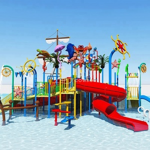 Water theme park pirate ship style fiberglass water slides for sale