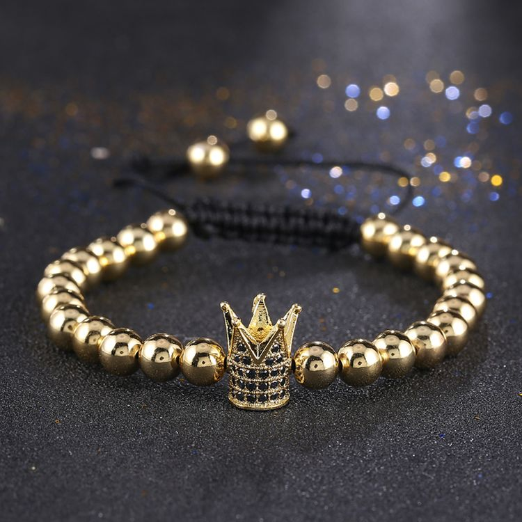 New Fashion Micro Pave Zircon Alloy Copper Cylinder Knot Elastic 6mm Silver Beaded Bracelet Mens