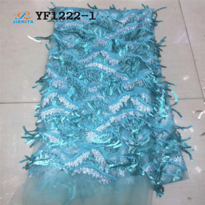 YF1222-1 New Design Best Selling African Clothing water blue sequins fashion styles nylon polyester lace
