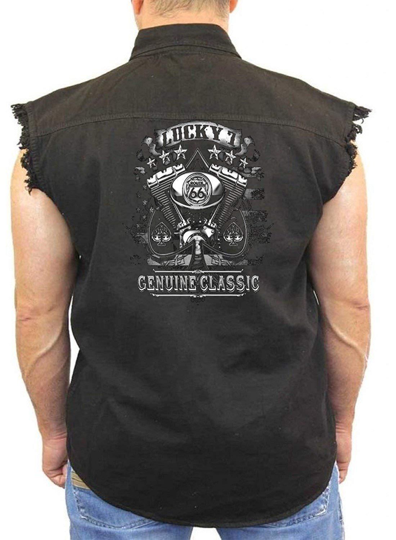 f3ce0b5f7f Get Quotations · Biker Denim Vest Lucky 7 Genuine Classic Mens Sleeveless  Biker Wear M-5XL