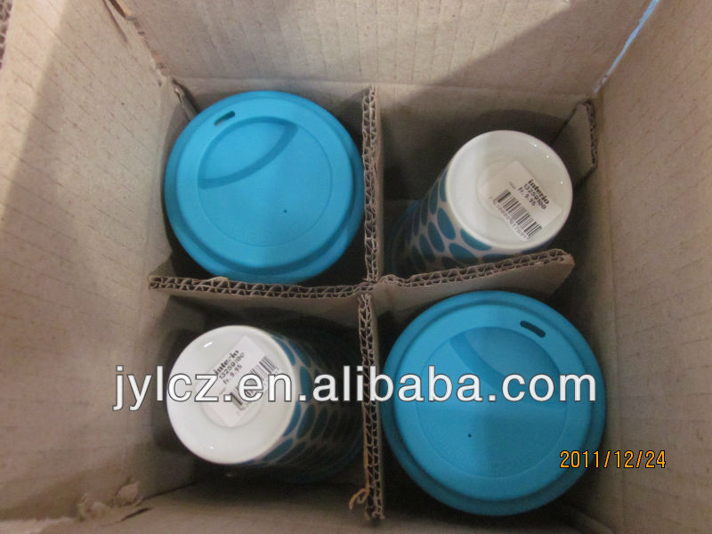Nice design coffee thermal porcelain cup with silicone lid