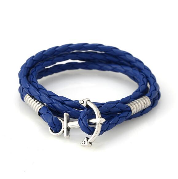 PK059 Huilin Jewelry Mens Womens Pu Leather Bracelet, Braided Anchor Wrap Bangle