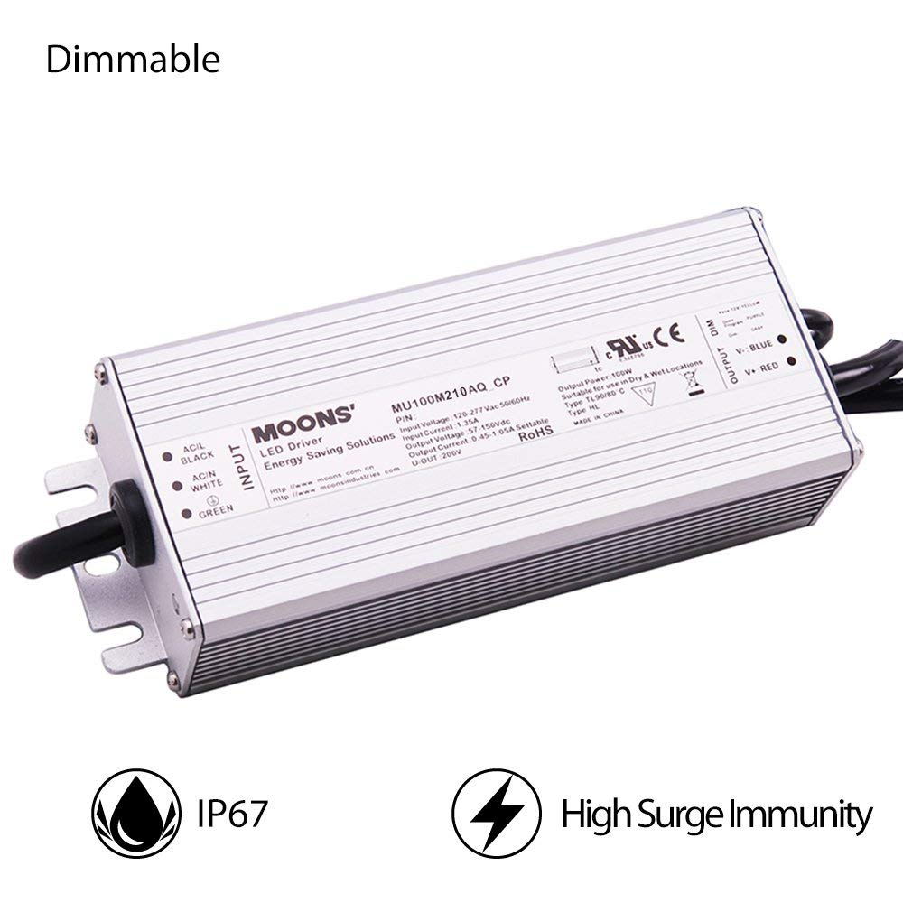 Moons' IP67 Waterproof LED Driver Dimmable LED Power Supply 100W Outdoor Power Supply 90~305VAC 29-71VDC 140-2100mA Output Constant Current LED Power Driver Waterproof LED Power Supply