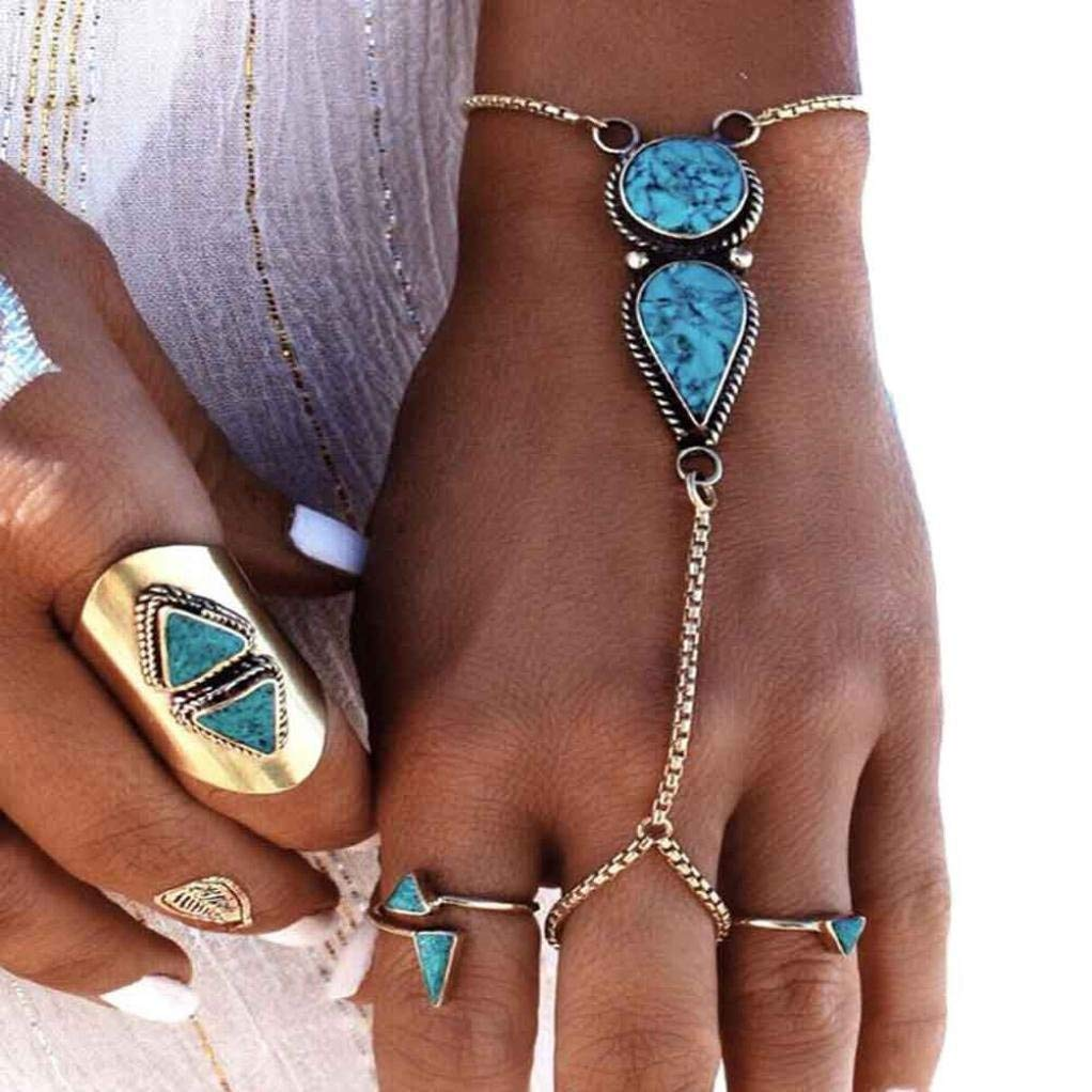 Clearance ! Bracelets, Ninasill Exclusive Fashion Jewelry Bohemian Vintage Ethnic Coin Bracelet Anklet Turquoise Chain (Silver)