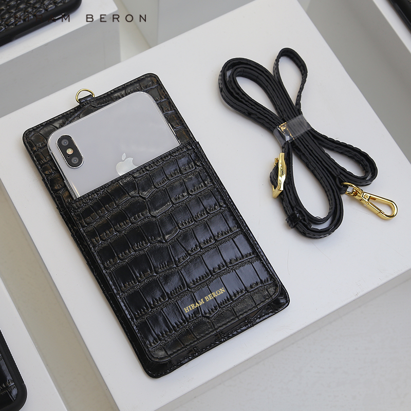 Hiram Beron Luxury Leather Phone Wallet with embossed croco pattern cow leather Phone bag Case, Black