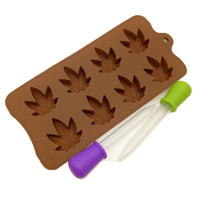 FDA Approved BPA Free 8 Cavity Leaf Shape Silicone Chocolate Candy Mold with Dropper фото