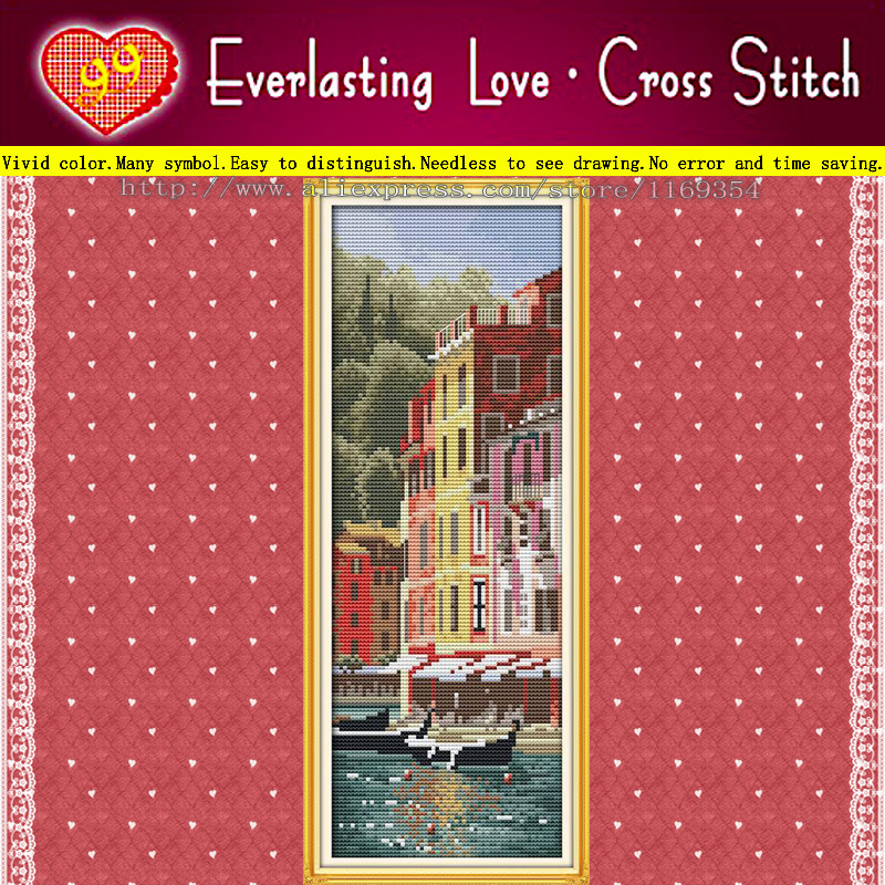 <font><b>Italian</b></font> Portofino landspace 11CT accurate printed on canvas cotton all embroidery Cross Stitch kits needlework Set Free Shipping