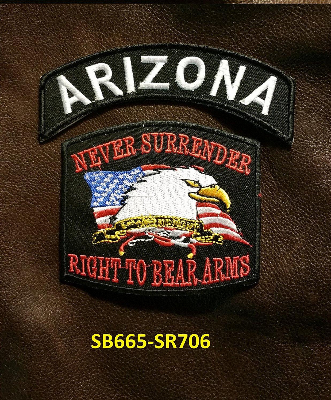 ARIZONA and NEVER SURRENDER Small Badges Set for Biker Vest