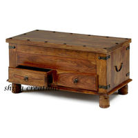 Indian Wooden Coffee Table with Storage Drawers