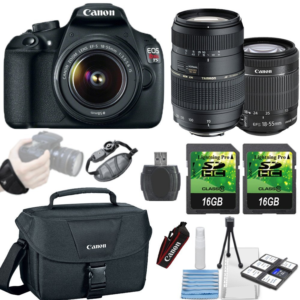 Canon EOS Digital Rebel T5 18MP DSLR Camera + Canon 18-55mm IS II Lens + Tamron 70-300mm Lens + 2 piece 16GB Memory Cards + Canon Camera Bag + Grip Strap + SD Card Reader + 6 piece cleaning kit