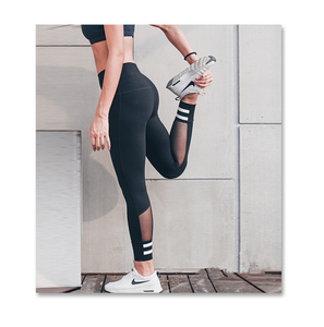 Mesh Sport Leggings Women Fitness Gym Yoga Pants Leggins Sportswear Strappy Jogging Pants Running Tights Sports Clothing