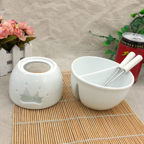 True Scent Ceramic Chocolate Fondue Fountain Set Burner