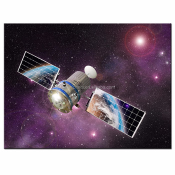 Outer Space Wall Art,Satellite Orbiting The Earth Picture Photo ...
