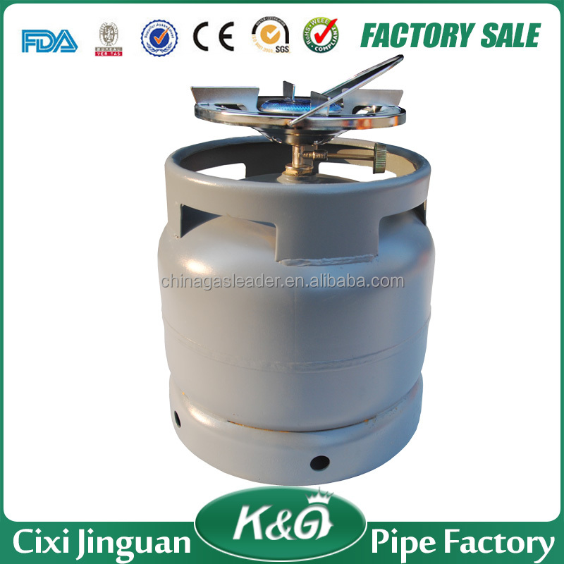 Cixi JG 6KG online shopping cheap portable LPG gas cylinder price, low pressure empty gas bottle with burner in South Afirca