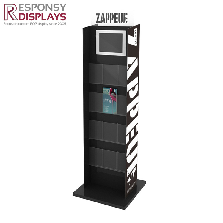 Modern black acrylic post card display counter greeting card stands