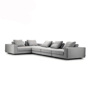 Nordic Modern Grey L Shape Sectional Sofa Commercial 5 Seater Fabric ...