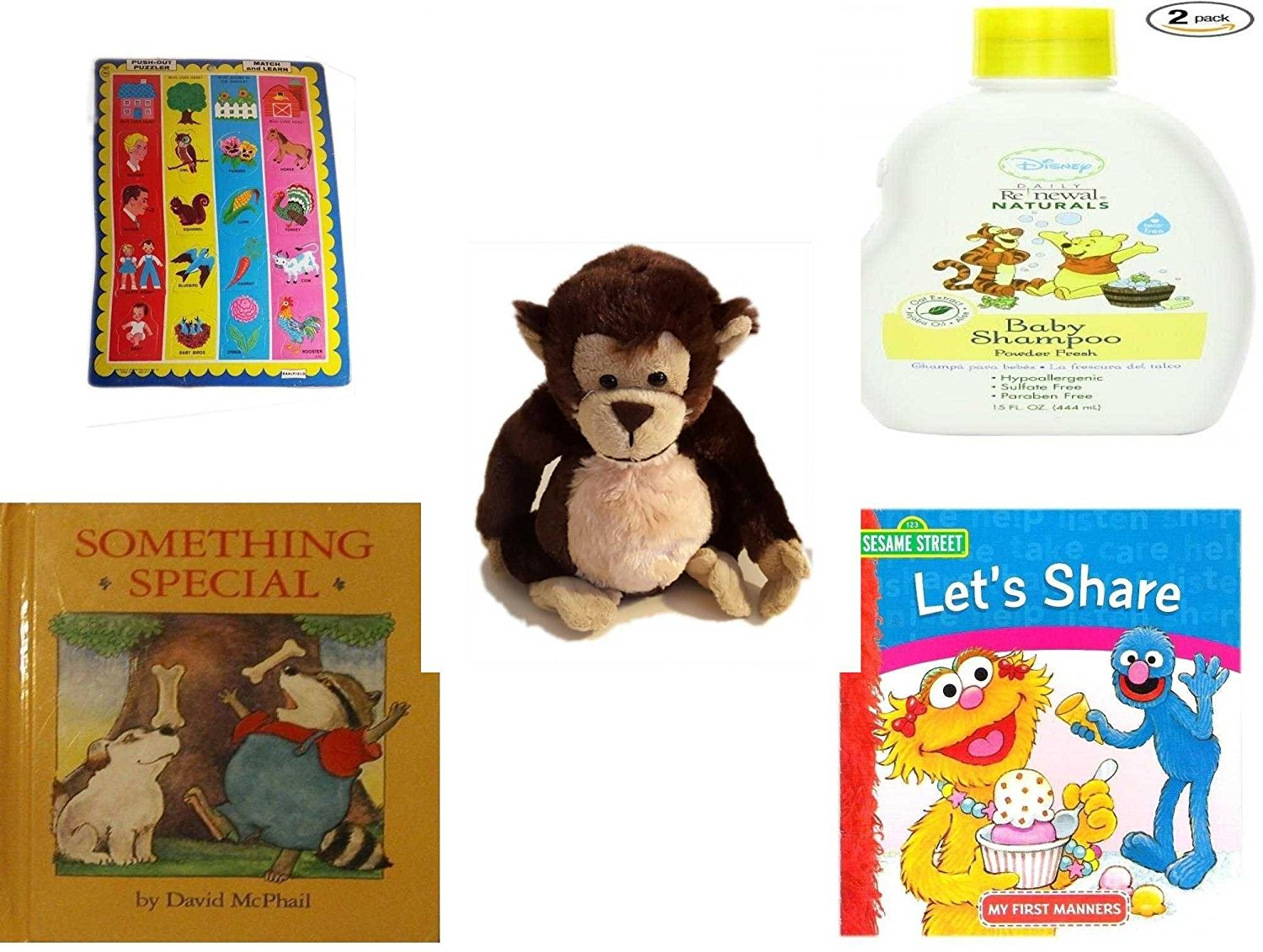 Children's Gift Bundle - Ages 0-2 [5 Piece] - Push Out Puzzler Match and Learn - Travel Size Disney Baby Daily Renewal Naturals Shampoo Powder Fresh, 1.7 Ounce (Pack of 2) - Ganz Adorable Chimpanzee