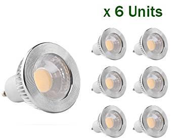 "GOOLSUN 5-watt GU10/MR16 LED COB Flood Bulb, 2700K Warm White, Dimmable, 90°Beam Spread, 50-watt Equivalent, 500 lumen, CRI 80+, AC 120V, 2.4"" height - (Pack of 6)"