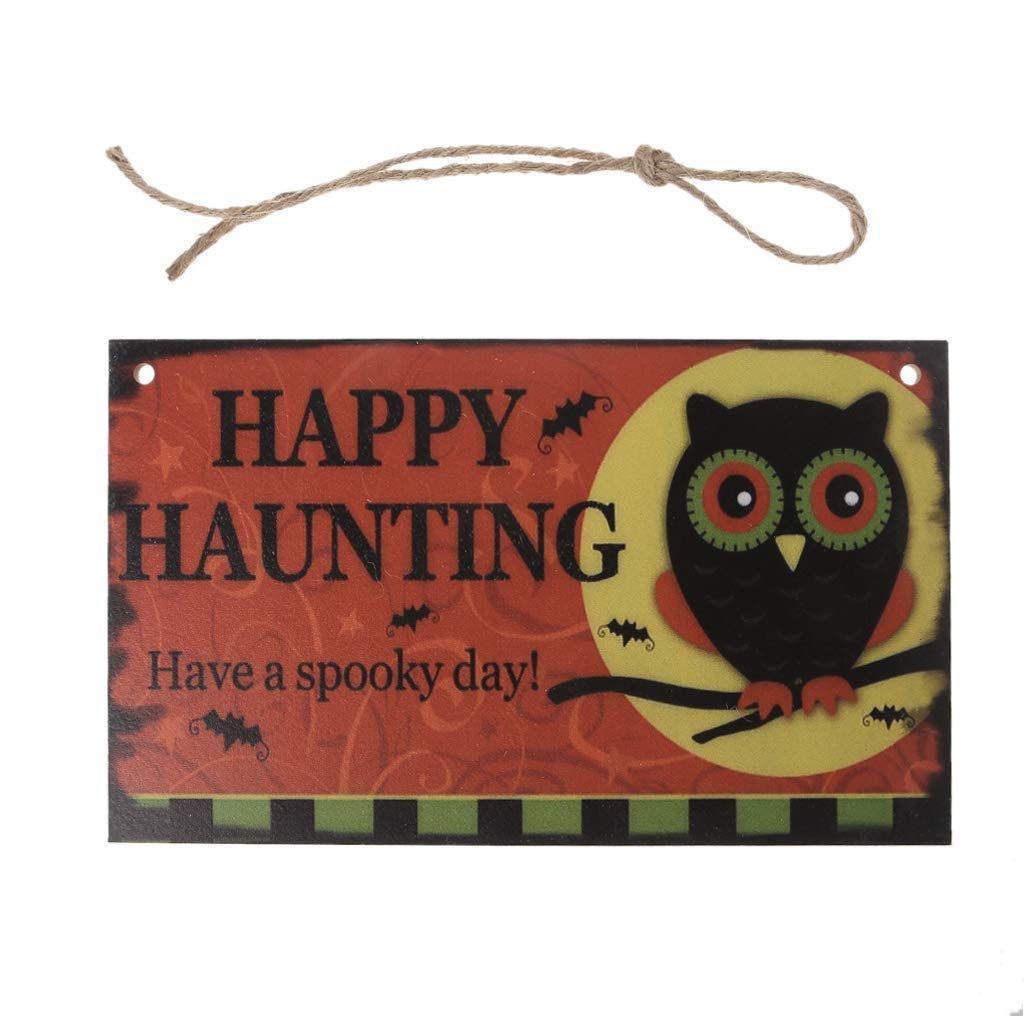 EA-Stone Thanksgiving Decorations,Happy Halloween Owl Wooden Hanging Plaque Board Wall Sign Door Home Decoration
