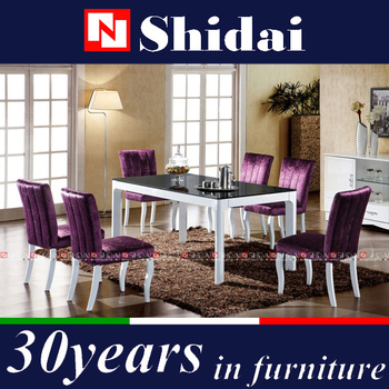 Purple Fabric Dining Room Furniture Chair / Wooden Dining Room ...