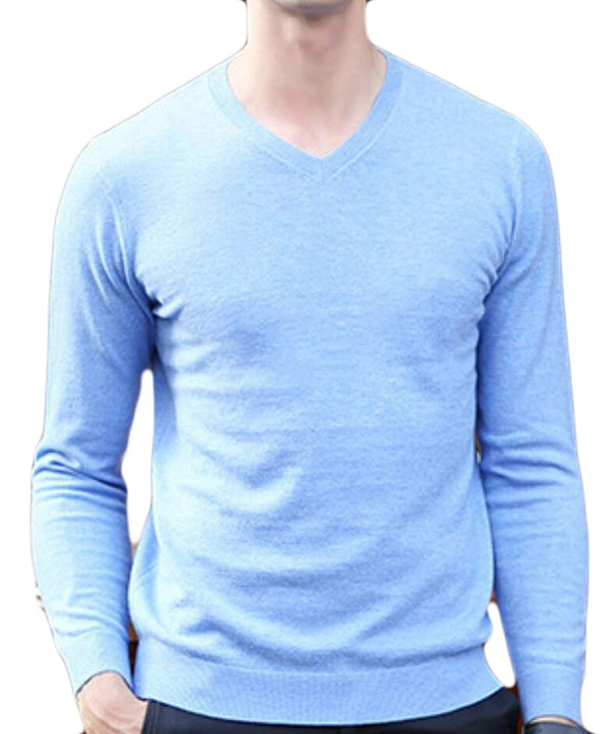 ouxiuli Men Casual Slim V Neck Pullover Jumper Sweater