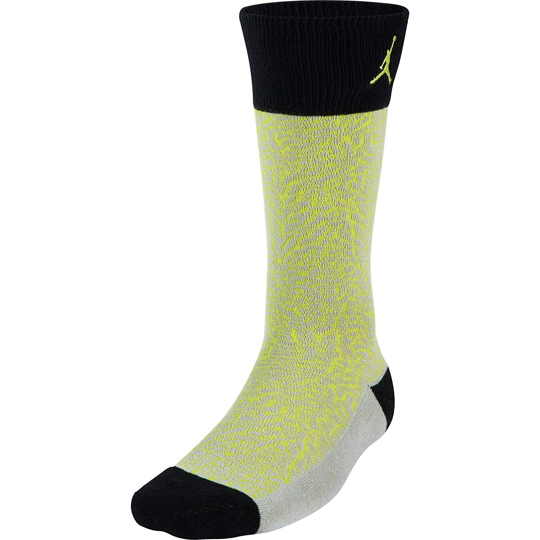 Jordan Elephant Print Crew Jumpman Socks-Gray/Black/Yellow
