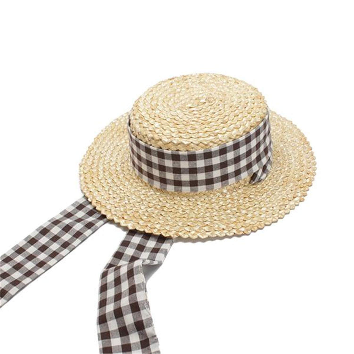 08f4a366bf516 Get Quotations · Women Straw Hats New Summer Boater Hat Ladies Flat Top  Beach Sun Hats with Plaid Belt