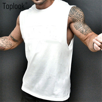 Toplook Solid Vest Tank Top Men Fitness Gym Wear Clothing For Male Custom Logo M7