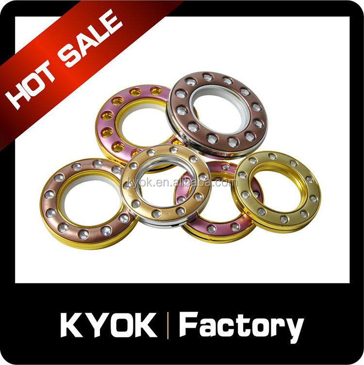 hot sell brass curtain eyelet , wholesale coffee / gold / pink colors curtain eyelets for window decorations , curtain rings