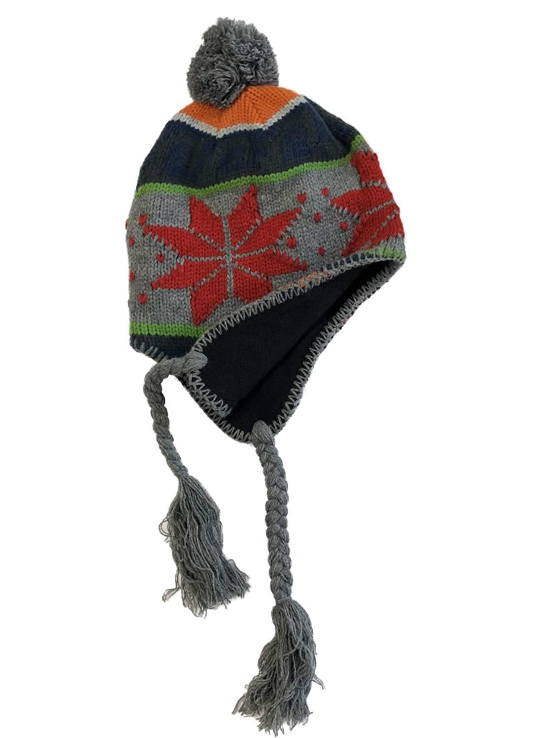 10eab51541d Get Quotations · Free Authority Mens Blue   Red Snowflake Pom Top Peruvian  Trapper Hat