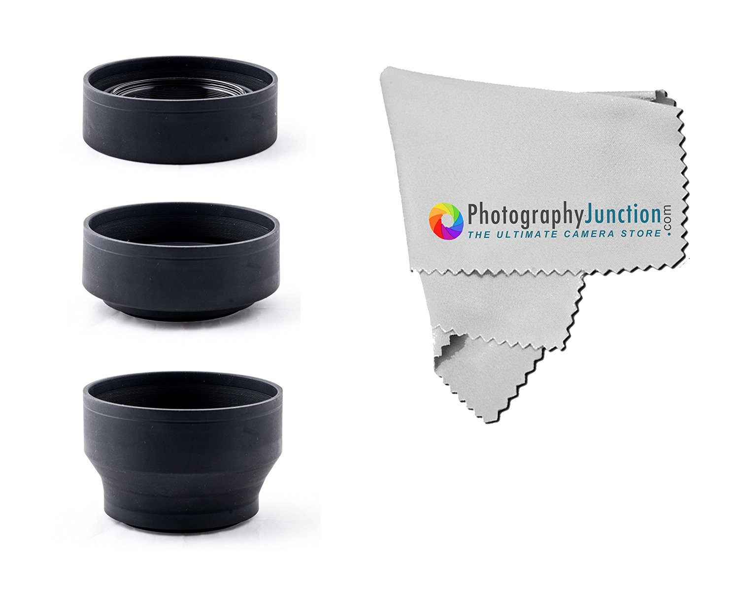 Photography Junction 55mm Collapsible Rubber Lens Hood Premium Micro Fiber Cloth for SONY Alpha Series A99 A77 A65 A58 A57 A55 A390 A100 DSLR Cameras