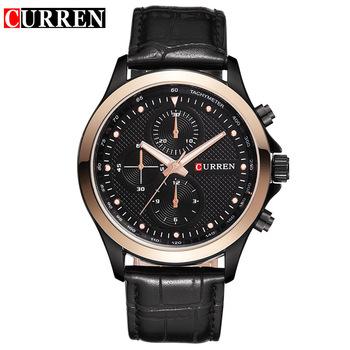 530420ad27e M8138 CURREN Relógio Quartz Hour Mostrador de Relógio Pulseira de Couro  Genuíno Casual Relógios Aço Homens