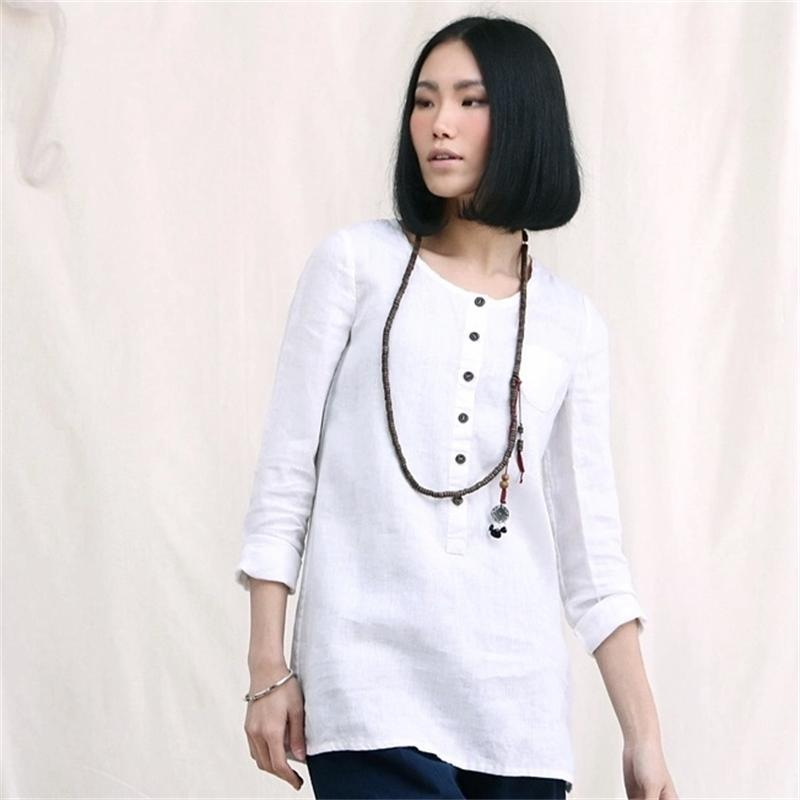 0b9b1bcc8cf9 Get Quotations · XianRan 2015 Women Shirts Loose Long Sleeves Tops Ladies  Button Plus Size Linen Shirts High Quality