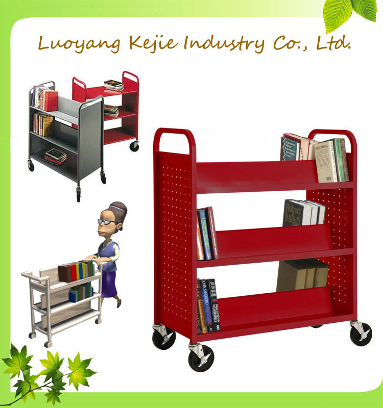 Professional Mdf And Metallic Library Bookshelf Trolley For Libraries