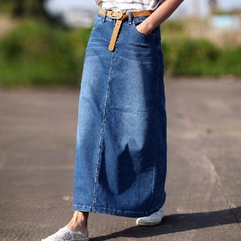 Women Long Denim Skirt Casual Plus Size Maxi Skirts Blue Color 2016