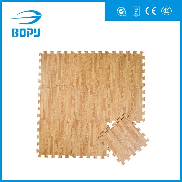 kids eco friendly lightweight plastic wood grain puzzle play floor mat