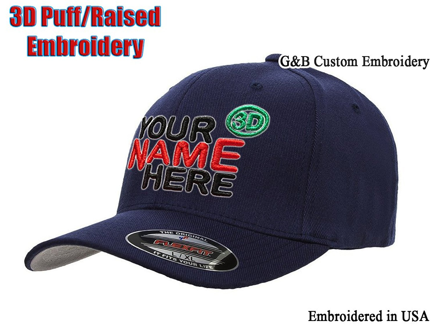 c10769f37efdcf Get Quotations · Raised/3D Puff Embroidered Custom Hat. Yupoong Snapback.  Flexfit 6477, 6277
