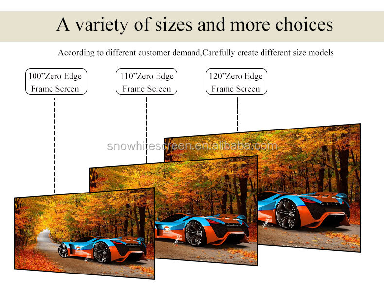 "SNOWHITE 72"" 16:9 format SM072UFV-L(V) woven acoustically transparent fabric 10mm frame fixed frame projector screen"