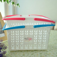 Plastic Cherry Print stackable plastic basket with handle